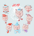set of cute winter cartoon pigs perfect for vector image vector image