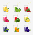 set of fresh fruit and berries juices vector image