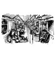 sketch people on train in singapore vector image vector image