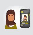 smart phone security system scanning muslim woman vector image