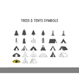 Trees and tent shapes and elements for creation vector image vector image