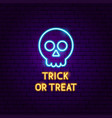 trick or treat skull neon label vector image vector image