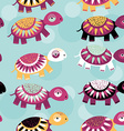 turtle Seamless pattern with funny cute animal on vector image vector image