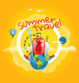 vacation travelling concept with the handbag vector image vector image