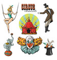 vintage hipster circus collection with carnival vector image vector image