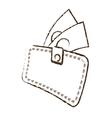wallet bill money cash dollar sketch vector image vector image