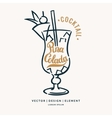 with hand drawn Pina Colada cocktail vector image