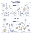 Startup and Teamwork Doodle Concepts vector image