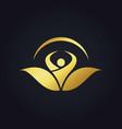 people organic botany vegetarian gold logo vector image
