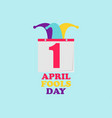 1 april fools day jester hat and calendar vector image vector image
