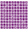 100 amusement icons set grunge purple vector image vector image