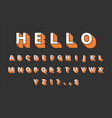 3d typeface volume alphabet retro letters vector image vector image