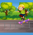a monkey playing skateboard vector image vector image