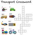 a transport crossword worksheet vector image