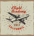 airplane label for flying academy vector image