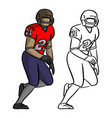 american football player in red jersey shirt vector image vector image