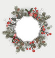 beautiful christmas decorative wreath greeting vector image vector image