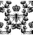 bee laurel wreath and crown seamless vector image