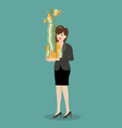 business woman holding a lot of money vector image vector image