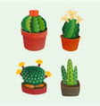 cactus flat style nature desert flower green vector image vector image