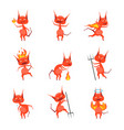 cartoon characters devil horned monster set vector image