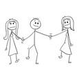 Cartoon heterosexual couple walking and