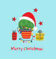 christmas card with funny cactus and gifts vector image vector image