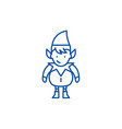christmas cute elf line icon concept christmas vector image