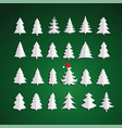 christmas kit of trees on green background vector image vector image