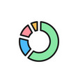 circle percentage diagram flat color icon vector image