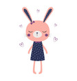 cute bunny girl isolated vector image vector image