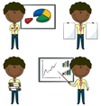 Cute funny African-American office worker vector image vector image