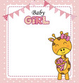 cute giraffe with teddy vector image vector image