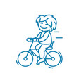 cycling trips linear icon concept cycling trips vector image