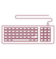 dark red line contour of computer keyboard vector image vector image