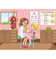 Doctor giving treatment to little girl vector image vector image