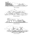 Doodle hand drawn landscapes vector image vector image