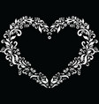 Embroidery inspired heart shape in white vector image vector image