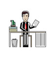 european businessman with contract at office desk vector image vector image