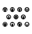 Frame arch shapes round black icons set vector image vector image