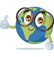 funny earth mascot wearing eyeglasses vector image