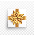 gold gift bow on a transparent background vector image vector image