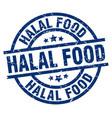 halal food blue round grunge stamp vector image vector image
