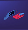 isometric payment by credit card with pos terminal vector image