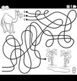 line maze with cartoon camel and oasis coloring vector image vector image