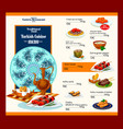 menu template of turkish cuisine restaurant vector image vector image