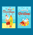 merry christmas santa claus and surfing board xmas vector image vector image