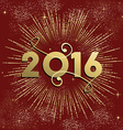 New Year 2016 firework explosion card gold vector image vector image