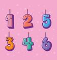 numbers candles kawaii comic characters vector image