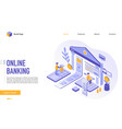 online banking landing page template vector image